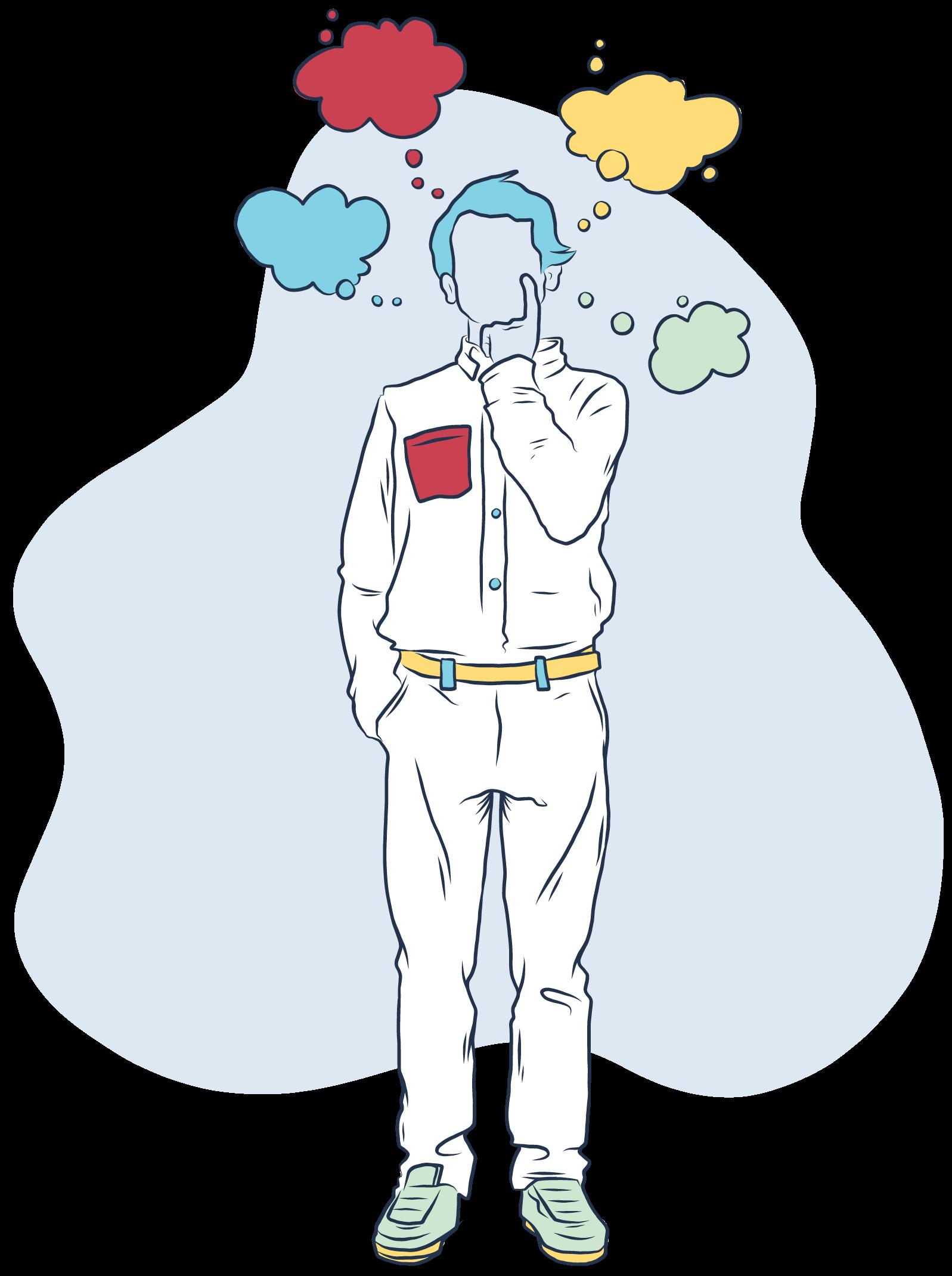 Es ist eine stehende Person abgebildet. Sie hat einen Zeigefinger an ihrem Kinn und die andere Hand in der Hosentasche. Über ihrem Kopf sind 4 bunte Gedankenblasen abgebildet.